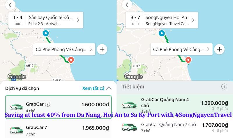 Giá Grab Đà Nẵng, Hội An đi Cảng Sa Kỳ