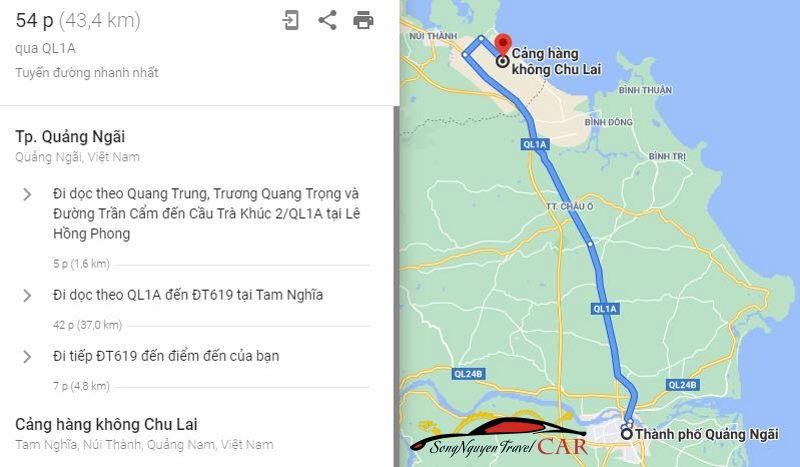 Khoảng cách từ sân bay Chu Lai đi thành phố Quảng Ngãi